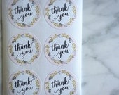 Floral wreth thank you label sticker - 24 pieces - 3.8cm round enveolpe seal - wedding invitation