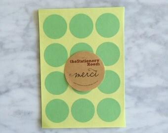 Pastel Green Paper Seal Stickers - 3cm round Label Sticker Seals - 72 Blank Seals
