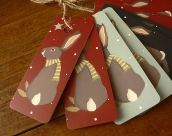 Set of 8 Christmas bunny Gift Tags