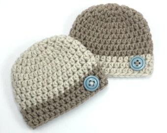 Newborn Twin Baby Hats, Ready to Ship, Chunky Baby Boy Hats, Baby Photo Prop, Twin Crochet Hats, Coordinating Hats, Newborn Twin Beanies