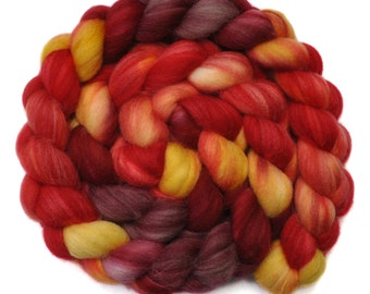 Hand painted roving - Superwash Merino Wool / Alpaca / Nylon / Silk spinning fiber - 4.0 ounces - Burgos 1