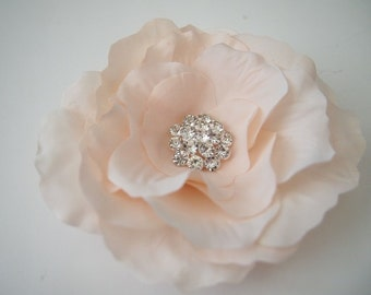 Wedding Bridal Hair Flower - Cabbage English Rose Peony - Stunning Rhinestone Gem Center - Headpiece Fascinator - Pale Blush Light Pink