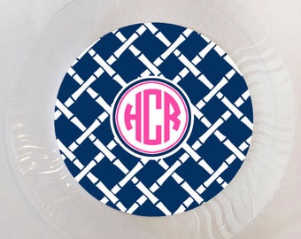 72 Color Choices - Monogram Bamboo print plastic plate - Set of 12