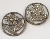 Vintage Sterling Silver Flower Brooches