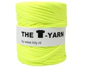 The t-shirt yarn 120-135 yards, 100% recycled cotton tricot yarn, neon yellow 79