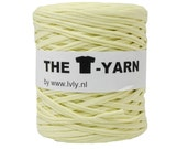 The t-shirt yarn 120-135 yards, 100% recycled cotton tricot yarn, soft yellow 100