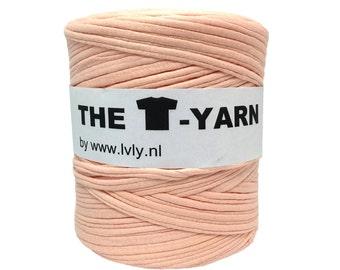 The t-shirt yarn 120-135 yards, 100% recycled cotton tricot yarn, peach 230
