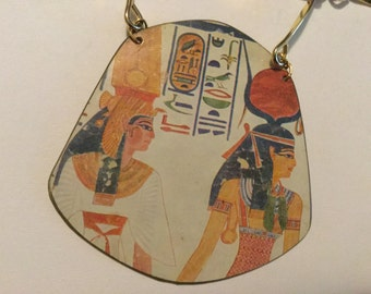 Egyptian Motif Vintage Necklace missing Closure as is