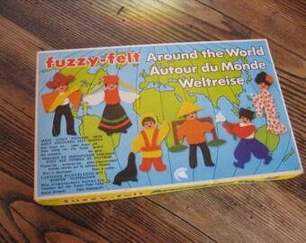 Fuzzy-Felt Around the World Original Box Made in England 1978 Allen Industries