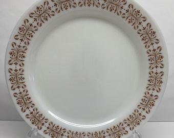Pyrex Resturant Ware 10 inch Dinner Plate Bronze filigree Pattern Milk Glass