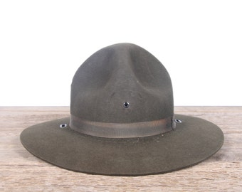 Vintage WWII Army Hat / Size 7 Green Drill Instructors Hat / Army Campaign Hat / Doughboy / Army Uniform / Military Gift Collectible