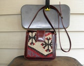 Vintage Cross Body Kilim Rug Blanket Handbag Purse Pouch Frame Square Turkey Native American Multicolor Handmade Made In USA Chimayo Indian