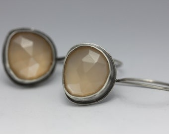 Rose Cut Peach Moonstone Earrings, Moonstone Earrings, Sterling Earrings, Rustic Chic, Natural Moonstone