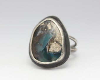 Needles Blue Agate Ring, Sterling Silver Ring, Unique Gemstone, Size 8