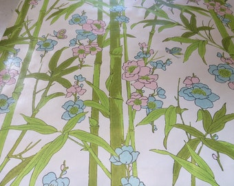 1970s Vintage wallpaper- butterflies and bamboo- by the yard