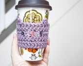 Lavender Kitty Cup Cozy Crochet Cup Cozy Crochet Animals Cat Coffee Cozy Crochet Cat Mug Cozy Reusable Cup Sleeve Stocking Stuffers Under 10