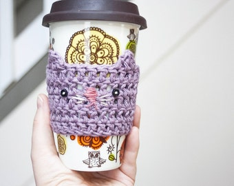 Lavender Kitty Cup Cozy Crochet Cup Cozy Crochet Animals Cat Coffee Cozy Crochet Cat Mug Cozy Reusable Cup Sleeve Stocking Stuffers Under 10