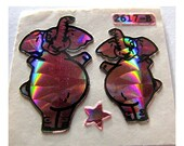 ON SALE Rare Vintage Prismatic Sticca Graphics Pink Elephant Sticker Mod - 80's HTF Hard to Find Animal Scrapbook