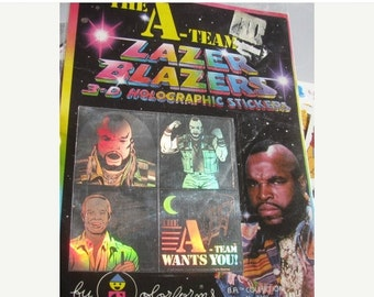 ON SALE Rare Vintage Lazer Blazers A-Team Hologram Stickers 80's Collectable New in Package