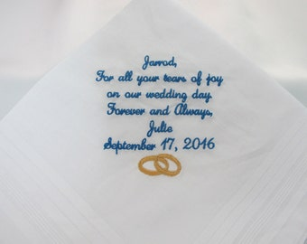 Embroidered Wedding Handkerchiefs from the Bride to her Groom