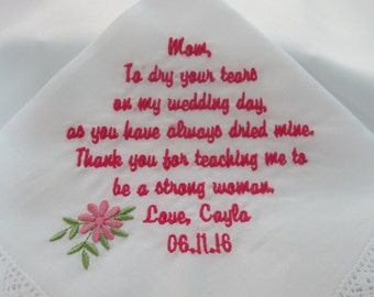 Embroidered Wedding Handkerchiefs for the Mother of the Bride