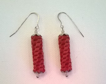 Handcrafted Red Spiral Braided Leather and Sterling Silver Earrings - Cowgirl Chic - Western Southwestern Style Earrings