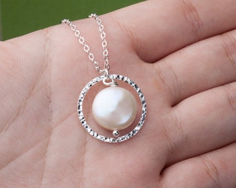 Karma necklace,Coin pearl necklace,bridesmaid gifts,mothers gift,Hammered karma cirle,anniversary gift,best friend gift,circle pendant,