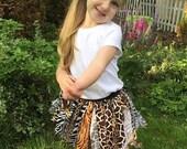 Animal Print Skirt, Animal Print Tutu, Jungle Skirt, Jungle Tutu, Zoo Skirt, Zoo Tutu, Fabric Skirt, Fabric Tutu, Shabby Skirt, Shabby Tutu