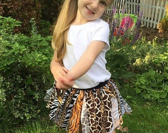 Animal Print Skirt, Animal Print Tutu, Jungle Skirt, Jungle Tutu, Zoo Skirt, Zoo Tutu, Fabric Skirt, Fabric Tutu, Shabby Skirt, Shabby Tutu