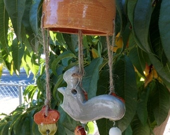 Squirrel and Acorn Wind Chime, Handmade Ceramic Stoneware, Wild Crow Farms