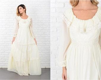 Maxi Boho Dress Vintage 70s  Hippie Floral Lace wedding Cream XXS 8012 vintage dress maxi dress hippie dress floral dress cream dress