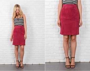 Vintage 80s Suede Leather Skirt High Waist Pencil Straight Red XS 8146