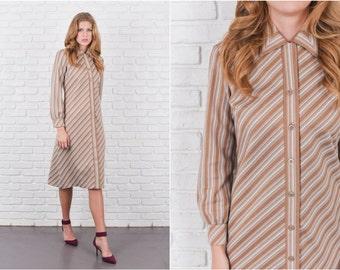 Vintage 70s Beige + White Mod Dress A Line Striped Collared Medium M 6136 vintage dress 70s dress beige dress striped dress medium dress