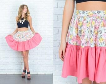 Vintage 60s 70s Vivid Pink Mini Skirt Full stick Figure scribble print Medium M 6754