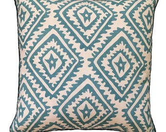 Cornflower blue Jagged Diamond linen cushion cover with navy piping