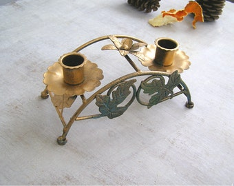 Shabby Cottage Table Decor, Golden Green 2 Arms Candelabra Eco Tableware, Altered Candlestick Holder Newlywed Wedding Gift Rustic Christmas