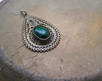 Antique Malachite Silver Pendant, Filigree Oxidized 925 Silver Teardrop Charm, Ethnic Tribal Jewelry Supply Turkmen Pendant Afghani Jewelery