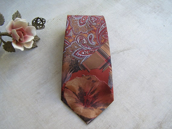 Vintage Silk Man Tie Paisley Floral Print, Elegant Mid Century Mensware, Mad Men Inspired, Classic Groom Tie Brown Red Orange Italian 1980s