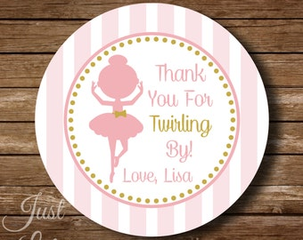 Pink and Gold Ballerina Favor Thank You Tags Printable