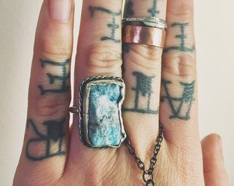 Raw Blue Apatite Ring