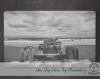 Placemat - Rehoboth Beach Pylons | B/W Nautical Beach House Decor | Anti Skid/Non Slip Fabric Top Rubber Backed Awesomeness