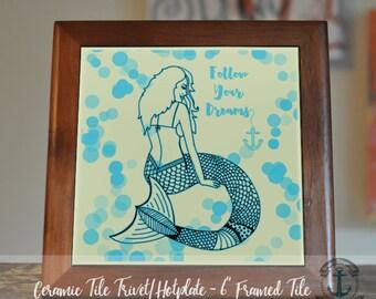 "Trivet Hot Plate: ""Follow Your Dreams"" Mermaid   Nautical Whimsical Decor   6"" Ceramic Tile Trivet Kitchen Accessory"