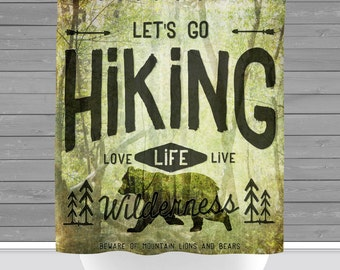 Wilderness Shower Curtain: Rustic Lodge Hiking Bears | Made in the USA | 12 Hole Fabric Bathroom Decor