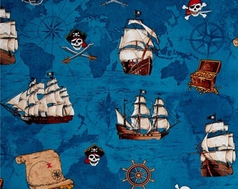 Pirate's Cove Pirate Map & Ships on Blue from Timeless Treasures