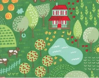 Farm Fun Main Print on Grass Green from Moda's Farm Fun Collection by Stacy Iset Hsu
