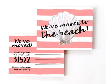 Beach Moving Postcards We've Moved to the Beach Change of Address Card Moving to Florida North South Carolina Tropical Moving Cards New Home