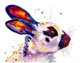Bunny Rabbit Watercolor Painting Fine Art Print 11x14 Watercolor Rabbit Print Bunny Print Rabbit Painting Bunny Painting Rabbit Art