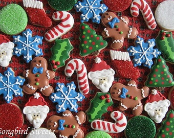 Mini Christmas Cookie Collection, Bite Sized Holiday Cookies (3 Dozen)