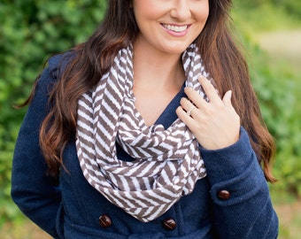 Herringbone Infinity Scarf, Womens Scarves, Personalized Scarf, Fall Scarf