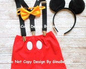 Mickey Mouse Birthday cake smash costume outfit baby boy bow tie SHORTS clubhouse FREE ears suspenders 1st 2nd 3rd 9 12 18 24 2T toddler